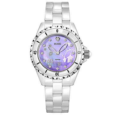 baratos Relógios Homem-Mulheres Relógios de Quartzo Casual Elegante Branco Cerâmica Chinês Quartzo Roxo Impermeável Relógio Casual 30 m Analógico Um ano Ciclo de Vida da Bateria / Aço Inoxidável