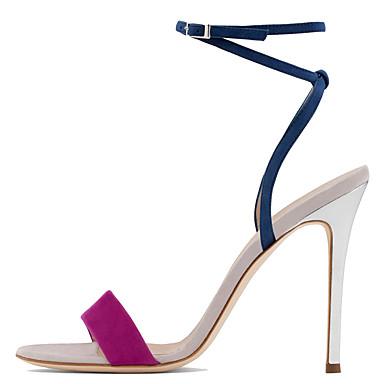 Kadın's Sandaletler Stiletto Topuk Açık Uçlu Toka Süet Minimalizm Sonbahar / İlkbahar yaz Yeşil / Mor / Parti ve Gece / Zıt Renkli