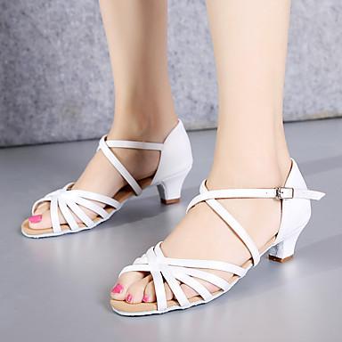 baratos Shall We® Sapatos de Dança-Mulheres Cetim Sapatos de Dança Latina Salto Salto Grosso Personalizável Preto / Branco / Vermelho