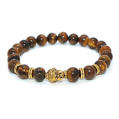 abordables Bracelet-Bracelet à Perles Homme Femme Classique Bouddha Décontracté / Sport Ethnique Bracelet Bijoux Dorée pour Plein Air