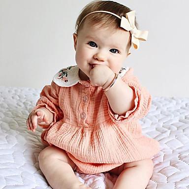 billige Babydrakter-Baby Jente Aktiv / Bohem Tusenfryd Jacquardvevnad Broderi Langermet Endelt Rosa