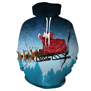 cheap Boys' Hoodies & Sweatshirts-Kids Toddler Boys' Active Basic Santa Claus Snowman Geometric Galaxy Color Block Print Long Sleeve Hoodie & Sweatshirt Blue