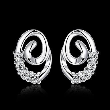 billige Moteøreringer-Dame Kubisk Zirkonium Dråpeøreringer geometriske donuts Stilfull Sølvplett øredobber Smykker Sølv Til Daglig Arbeid 1 par
