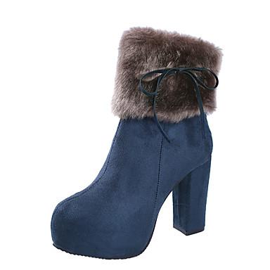 voordelige Dameslaarzen-Dames Laarzen Blokhak Ronde Teen Imitatiebont / PU Lente / Herfst winter Zwart / Kameel / Blauw / Feesten & Uitgaan