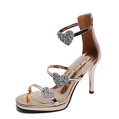 Kadın's Sandaletler Stiletto Topuk Burnu Açık PU Günlük Yaz Siyah / Açık Kahverengi / Gümüş