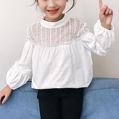 baratos Blusas para Meninas-Infantil Para Meninas Activo Moda de Rua Sólido Retalhos Renda Patchwork Manga Longa Camisa Preto