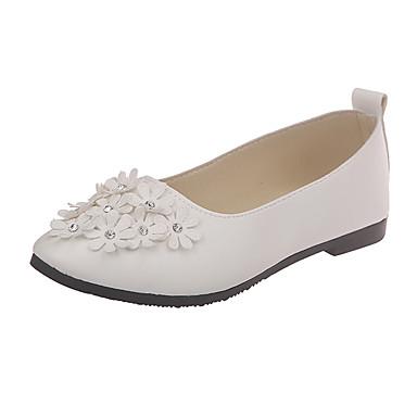 Kadın's Mokasen & Bağcıksız Ayakkabılar Düz Taban PU İlkbahar & Kış / Yaz Siyah / Beyaz / Pembe