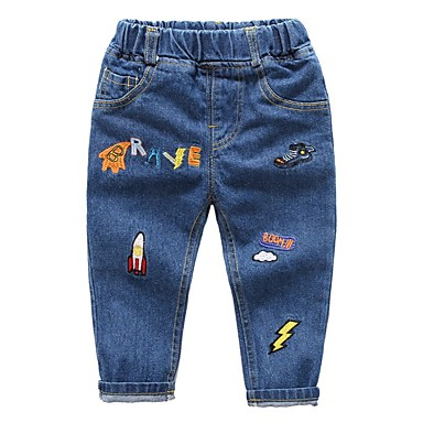 baratos Calças para Meninos-Infantil Para Meninos Galáxia Jeans Azul