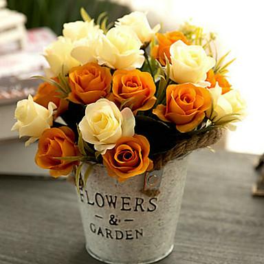 Umjetna Cvijeće 1 Podružnica Klasični Europska Pastoral Style Roses Cvjeće za stol