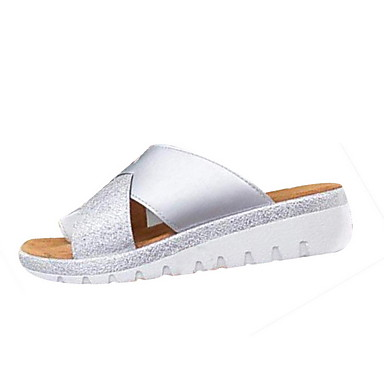 voordelige Damespantoffels & slippers-Dames Slippers & Flip-Flops Platte hak Ronde Teen PU Zomer Zwart / Paars / Lichtbruin