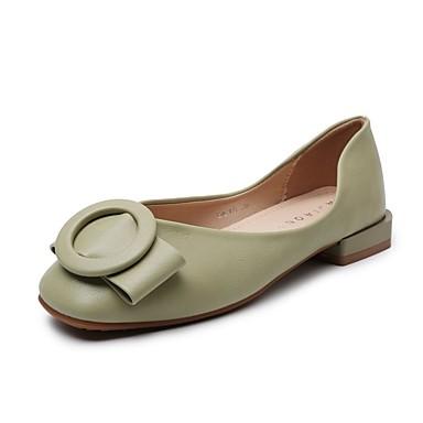 Kadın's Mokasen & Bağcıksız Ayakkabılar Blok Topuk PU Günlük Yaz Yeşil / Bej