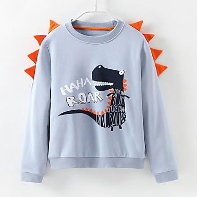 baratos Moletons Para Meninas-Infantil Para Meninas Moda de Rua Estampado Manga Longa Moleton & Blusa de Frio Azul