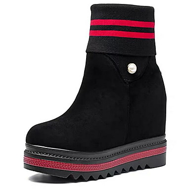 voordelige Dameslaarzen-Dames Laarzen Sleehak Ronde Teen Suède Korte laarsjes / Enkellaarsjes Herfst winter zwart / wit / Zwart / Rood