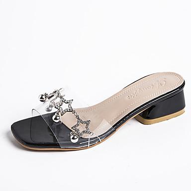 Kadın's Sandaletler Kalın Topuk Taşlı PU Günlük Yaz Siyah