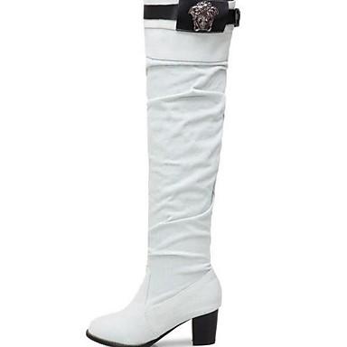 voordelige Dameslaarzen-Dames Laarzen Blokhak Ronde Teen Denim Over de knie laarzen Herfst winter Zwart / Blauw / Beige