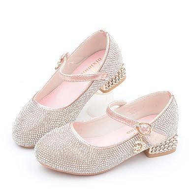 baratos Saltos Sutis para Adolescentes-Para Meninas Microfibra Saltos Little Kids (4-7 anos) Sapatos para Daminhas de Honra Pedrarias Rosa claro / Prateado Outono