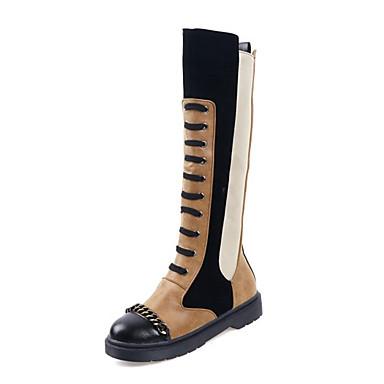 cheap Women's Boots-Women's Boots Platform Round Toe PU Knee High Boots Casual / British Winter Black / White / Black / Yellow