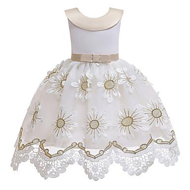 baratos Roupas de Meninas-Infantil Para Meninas Activo Doce Sólido Floral Bordado Sem Manga Altura dos Joelhos Vestido Branco