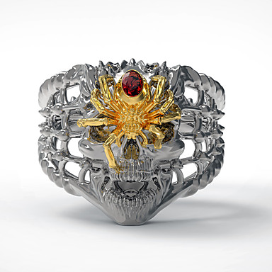 voordelige Herensieraden-Heren Ring 1pc Goud Zilver Gesimuleerde diamant Legering Onregelmatig Vintage Punk modieus Dagelijks Sieraden Vintagestijl Schedel Spinnen