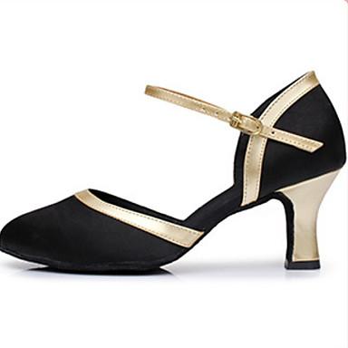baratos Sapatos de Samba-Mulheres Sapatos de Dança Couro Sapatos de Samba Salto Salto Cubano Preto