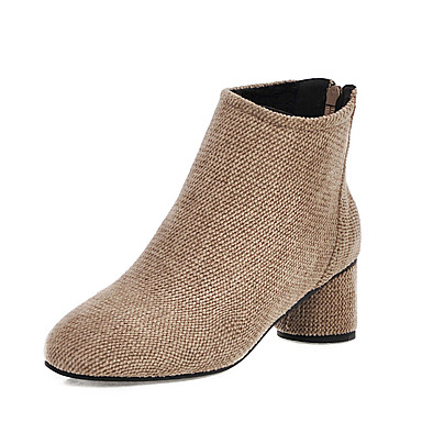 povoljno Ženske čizme-Žene Čizme Kockasta potpetica Okrugli Toe Brušena koža Jesen zima Crn / Badem