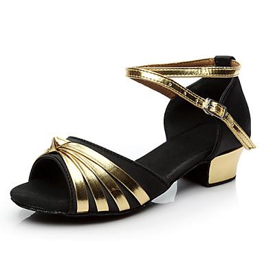 baratos Sapatos de Salsa-Para Meninas Sapatos de Dança Cetim / Couro Sintético Sapatos de Dança Latina / Sapatos de Salsa Presilha / Purpurina Salto Salto Grosso Preto / Azul