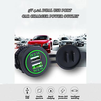 voordelige Automatisch Electronica-5V 4.2A Dual USB-poort Autolader Stopcontact Auto-adapter Socket Met LED Snelle Oplader Waterdicht / 7-voudige bescherming voor SUV Motorboot Van Marine RV iPhone Huawei DC12V-24V