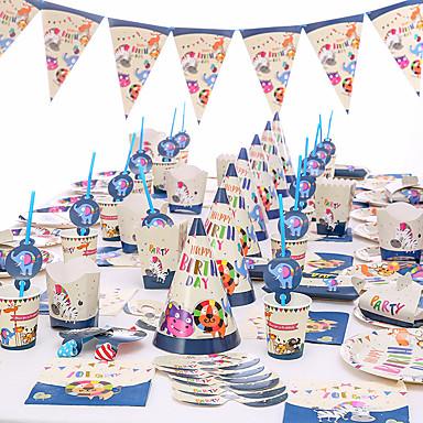 voordelige Feestbenodigdheden-baby shower verjaardagsfeest dierentuin thema feest decoratie benodigdheden eenhoorn papieren beker bord servies benodigdheden