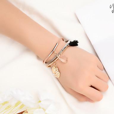 billige Motearmbånd-Dame Vedhend Armband Multi Layer Skall Bohemsk Natur Ferie Lær Armbånd Smykker Regnbue Til Daglig Skole Klubb