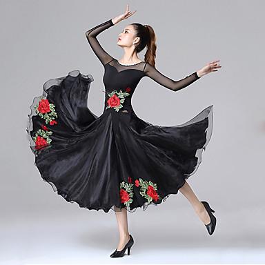 billige Dansetøj og Dansesko-ballroom dans Kjoler Dame Træning / Ydeevne Spandex / Nylon / Net Broderi / Kombination / Krystal / Rhinsten Langærmet Kjole