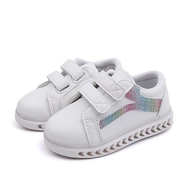 billige LED Sko-Jente PU Treningssko Små barn (4-7år) / Store barn (7 år +) Lysende sko Gange LED Svart / Rosa / Regnbue Vår / Sommer