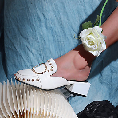 voordelige Damessandalen-Dames Sandalen Blok hiel Vierkante Teen Siernagel / Gesp PU Informeel / minimalisme Lente zomer / Herfst winter Zwart / Wit
