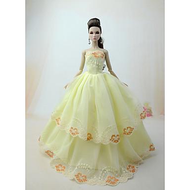 voordelige Poppenaccessoires-Poppenjurk Feest / Avond Voor Barbie Flora Botanisch Lichtgeel Licht Grijs Wit Voor voor meisjes Speelgoedpop