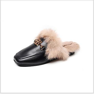 voordelige Damespantoffels & slippers-Dames Slippers & Flip-Flops Platte hak Ronde Teen PU Herfst winter Zwart / Amandel