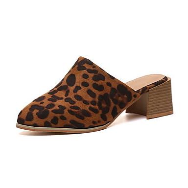 voordelige Damespantoffels & slippers-Dames Slippers & Flip-Flops Blok hiel Ronde Teen Suède Zomer Zwart / Luipaard