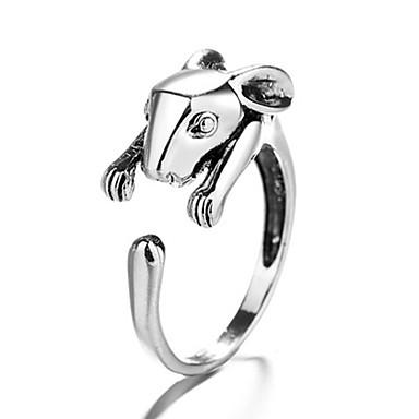 voordelige Herensieraden-Heren Dames Ring 1pc Zilver Koper Cirkelvormig Vintage Standaard Modieus Festival Sieraden Rabbit Dier Schattig