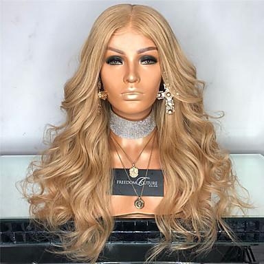 פאות סינתטיות Body Wave סגנון חלק אמצעי הוכן באמצעות מכונה פאה מוזהב בלונדינית שיער סינטטי 26 אִינְטשׁ בגדי ריקוד נשים נשים מוזהב פאה ארוך