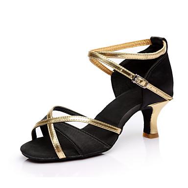 baratos Shall We® Sapatos de Dança-Mulheres Sapatos de Dança Cetim / Couro Ecológico Sapatos de Dança Latina Lantejoula Salto Salto Cubano Personalizável Preto / Marron / Vermelho