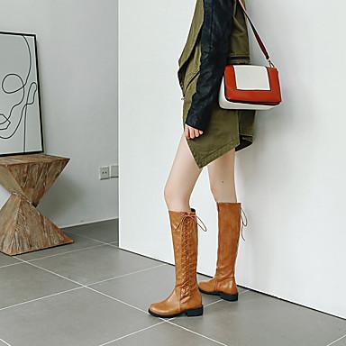 povoljno Ženske čizme-Žene Čizme Ravna potpetica Okrugli Toe PU Čizme do koljena Jesen zima Crn / Braon / Žutomrk