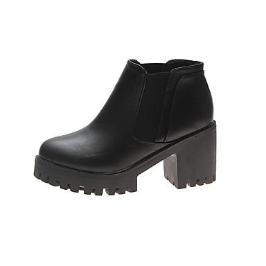 voordelige Dameslaarzen-Dames Laarzen Blokhak Ronde Teen PU Herfst Zwart