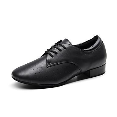 baratos Shall We® Sapatos de Dança-Homens Sapatos de Dança Couro Sapatos de Dança Moderna Salto Salto Grosso Personalizável Preto