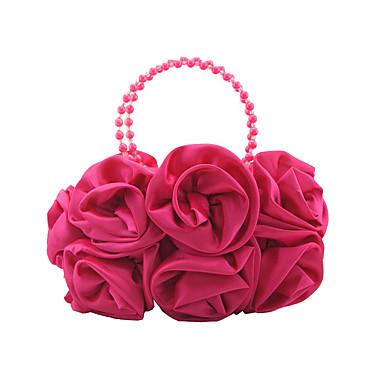 billige Vesker-Dame Blomst Satin Aftenveske Blomstermønster Champagne / Fuksia / Rød