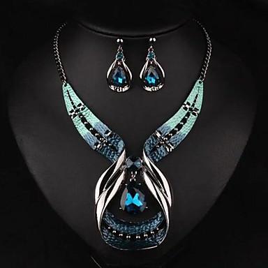 voordelige Dames Sieraden-Dames Druppel oorbellen Choker kettingen Hangertjes ketting 3D Uniek ontwerp Vintage oorbellen Sieraden Blauw Voor Feestdagen 1 set