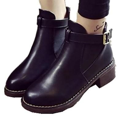 voordelige Dameslaarzen-Dames Laarzen Plateau Ronde Teen PU Kuitlaarzen Herfst winter Zwart / Donker Grijs / Donker Bruin