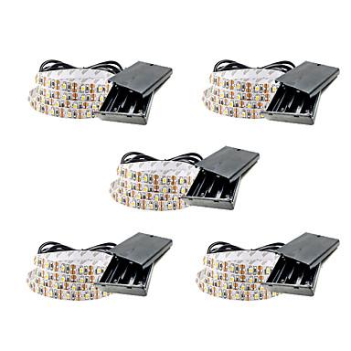billige LED Strip Lamper-1m fleksible led lysstrimler 60 leds smd3528 5mm varm hvit / hvit / rød vanntett / fest / dekorative batterier drevet 5stk