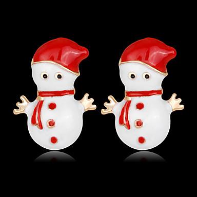 voordelige Dames Sieraden-Dames Oorknopjes 3D Kostbaar Modieus Verguld oorbellen Sieraden Wit Voor Kerstmis Feest Lahja Festival 1 paar