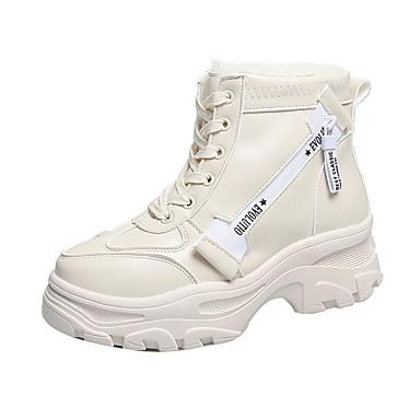 voordelige Dameslaarzen-Dames Laarzen Creepers Ronde Teen PU Korte laarsjes / Enkellaarsjes Informeel / Chinoiserie Winter Zwart / Wit / leuze