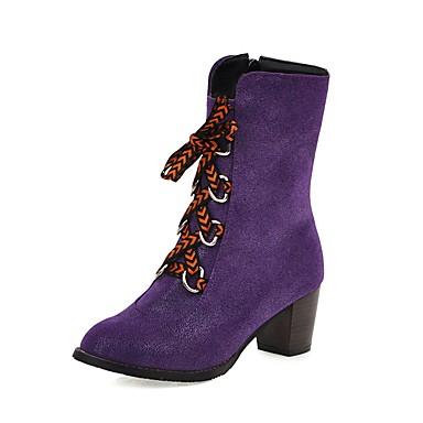 voordelige Dameslaarzen-Dames Laarzen Blokhak Ronde Teen Denim Kuitlaarzen Informeel / Zoet Winter Lichtblauw / Paars / Donkerblauw