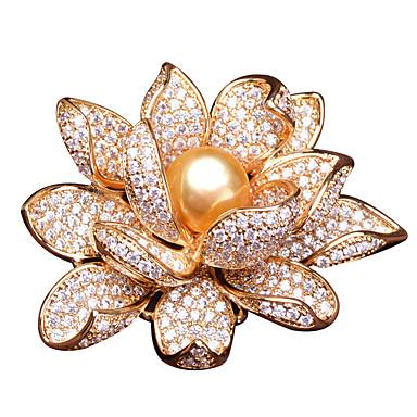voordelige Dames Sieraden-Dames Parel Broches Lotus Luxe Verguld Broche Sieraden Goud Zilver Voor Feest Lahja