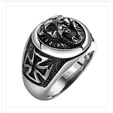 voordelige Herensieraden-Heren Ring 1pc Zilver Titanium Staal Geometrische vorm Punk Dagelijks Feestdagen Sieraden meetkundig Cool